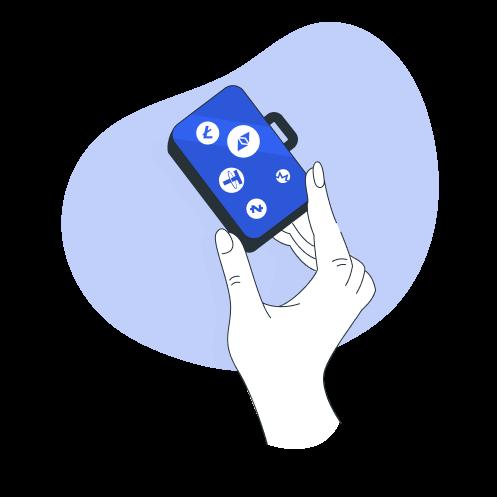 hand defi solution illustration